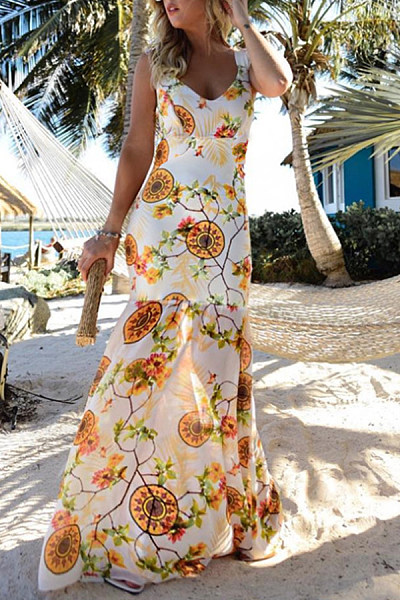 Deep V Neck  Floral Printed  Sleeveless Maxi Dresses