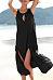 Round Neck  Slit  Plain  Sleeveless Maxi Dresses