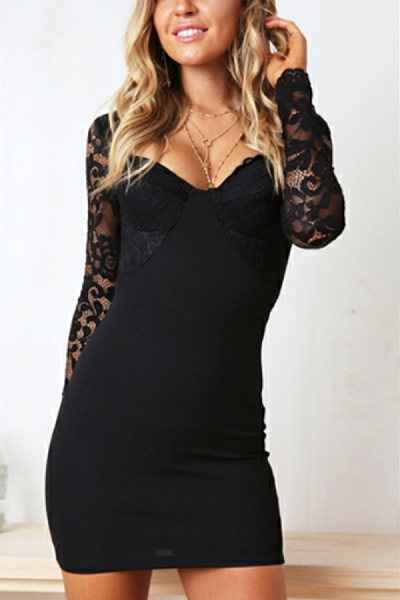 Asymmetric Neck  Decorative Lace  Plain  Long Sleeve Bodycon Dresses