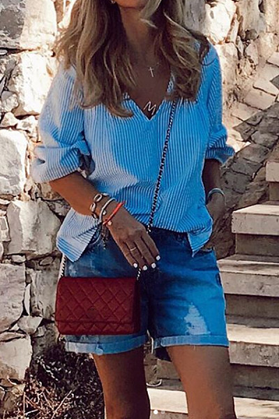 Simple V-Neck Striped Loose Blouse