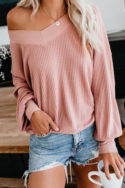 Cute  Plain  Long Sleeve Sweaters