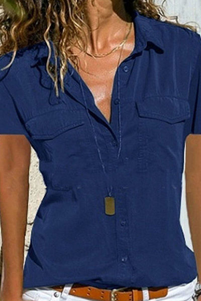 Pure Color Lapel Long-Sleeved Shirt