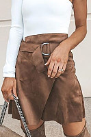 Belt  Plain  Elegant  Skirts