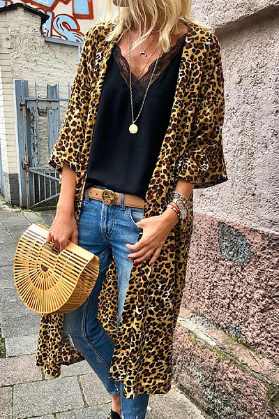 Round Neck  Leopard Printed Cardigans