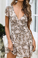 Sexy V-Neck Leopard Print Short-Sleeved Dress