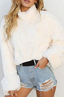 High Neck  Fur Collar  Plain Sweaters