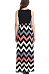 Scoop Neck  Contrast Stitching  Abstract Print  Sleeveless Maxi Dresses