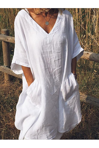 Casual V Neck Half Sleeve Pockets Shift Dresses