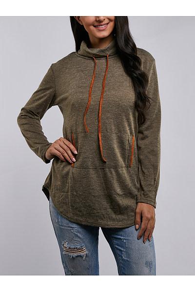 High Neck  Asymmetric Hem Drawstring  Plain Sweatshirts