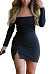 Strapless  Zipper  Plain  Long Sleeve Bodycon Dresses