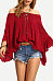 Off Shoulder  Backless Patchwork  Smocked Bodice  Plain  Bell Sleeve Shirts