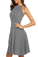 Halter  Plain  Sleeveless Skater Dresses