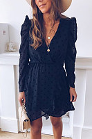 Casual Deep V-Neck Polka Dot Dress