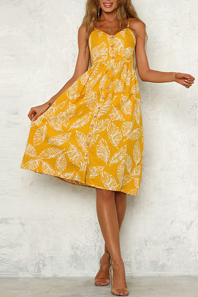 Spaghetti Strap  Single Breasted  Printed  Sleeveless Maxi Dresses
