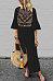 Deep V Neck  Slit  Floral Printed  Bell Sleeve  Long Sleeve Maxi Dresses