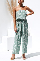 Sexy Boat Neck Off-Shoulder Sleeveless Printed Colour Jumpsuit
