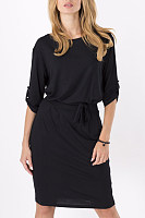 Crew Neck  Belt Loops  Plain  Half Sleeve Bodycon Dresses