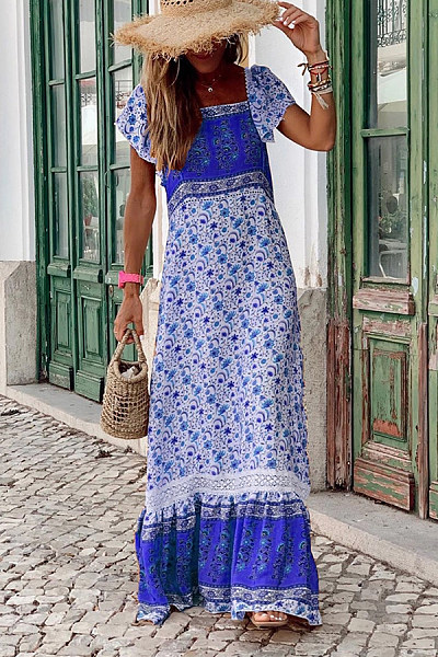 Bohemian Printed Square Ruffle Short Sleeve Panel Dresses
