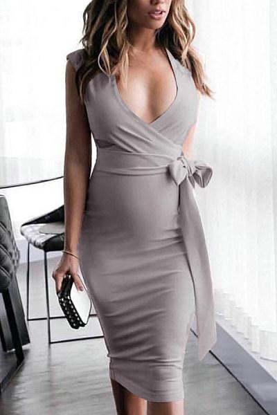 V Neck  Cutout  Plain  Sleeveless Bodycon Dresses