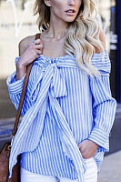 Off Shoulder  Bowknot  Striped  Blouses
