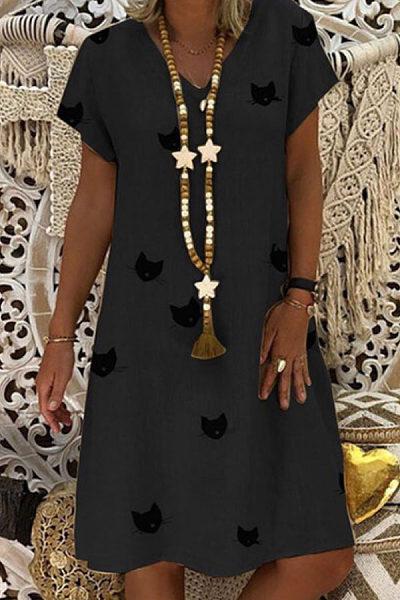 V Neck  Animal Prints  Short Sleeve Casual Dresses