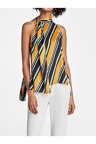 Fashion Striped Off-Shoulder Sleeveless Slit Shirt