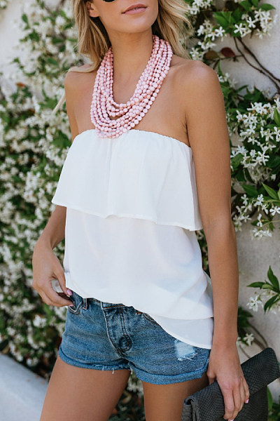 Strapless  Ruffle Plain  Vests