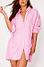 Turn Down Collar  Single Breasted  Striped  Long Sleeve Casual Dresses