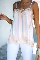 Rainbow Stripe Lace Panel Camis