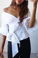 Surplice  Bowknot  Lantern Sleeve Shirts