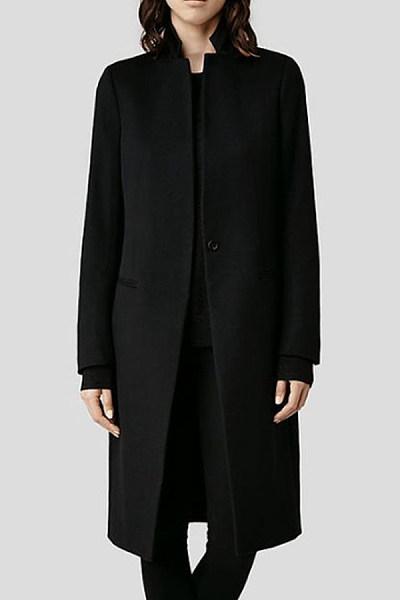 Band Collar  Plain Trench Coat