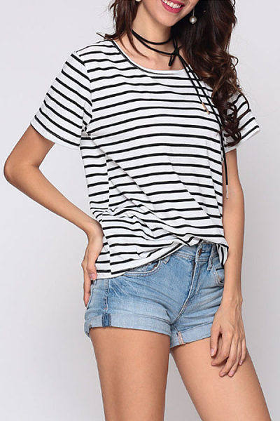 Striped Batwing Exquisite Round Neck Short-Sleeve-T-Shirt