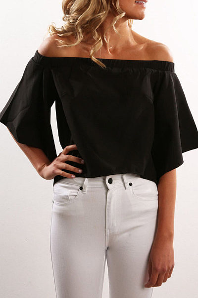 Off Shoulder  Asymmetric Hem  Plain T-Shirts