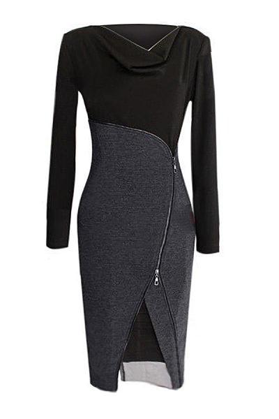 Cowl Neck Zips Slit Bodycon Dress