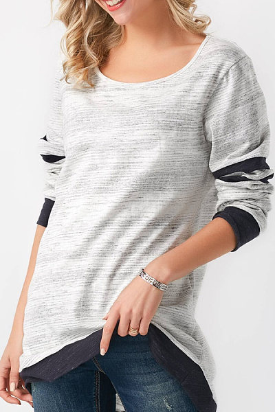 Round Neck  Loose Fitting Seamless  Patchwork Plain T-Shirts
