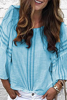 Round Neck Flare Sleeve Stripes Casual Blouses