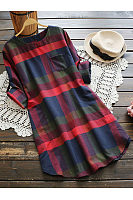 Plaid Curved Hem Roll-Up Sleeve Shift Dress