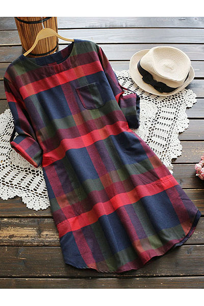 Plaid Curved Hem Roll-Up Sleeve Shift Dress