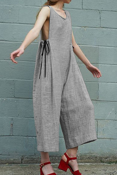 Round Neck  Plain  Sleeveless Jumpsuits