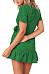 V Neck  Belt  Dot  Short Sleeve Casual Dresses