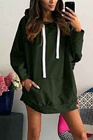 Hooded  Drawstring Kangaroo Pocket  Plain  Batwing Sleeve Hoodies