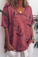 Bedruckte Kurzarm-T-Shirts Mit V-Ausschnitt