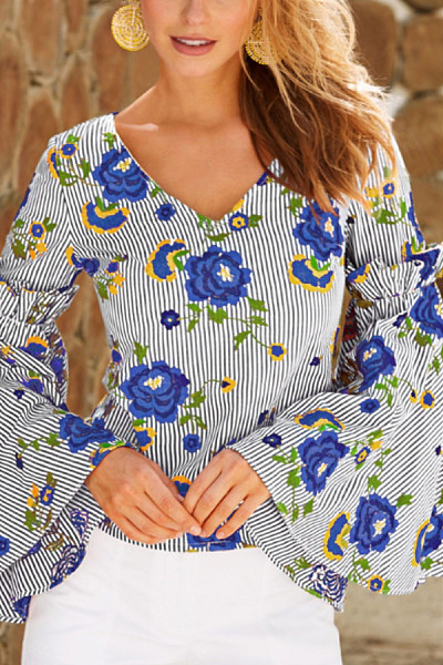 V Neck  Print  Bell Sleeve  Elegant   Blouses