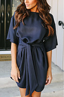 Crew Neck  Belt  Plain  Bell Sleeve  Half Sleeve Casual Dresses