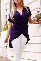 Surplice  Asymmetric Hem  Plain T-Shirts