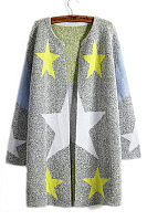 Collarless  Star Printed  Cardigans