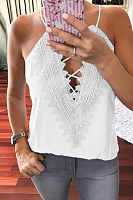 Halter  Lace Up  Plain Camis