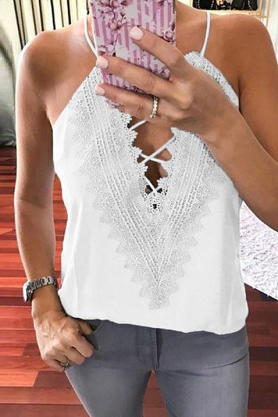 Halter  Lace Up  Plain Camis
