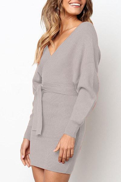 Surplice  Belt Loops  Plain  Long Sleeve Bodycon Dresses