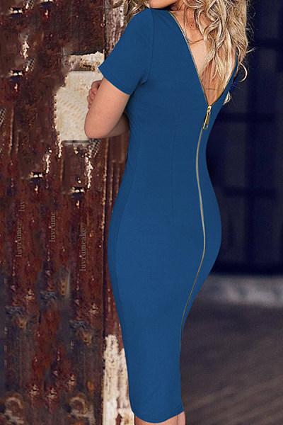 Round Neck  Zipper  Plain  Short Sleeve Bodycon Dresses